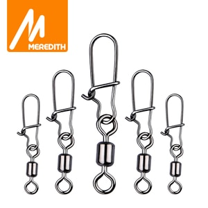 MEREDITH 50PCS Pike Fishing Accessories Connector Pin Bearing Rolling Swivel Stainless Steel Snap Fishhook Lure Swivels Tackle