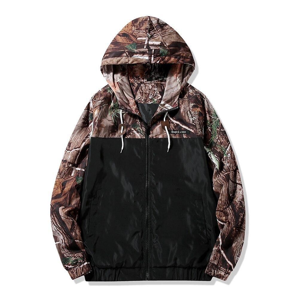 Envío de la gota hombres táctico chaqueta árboles camuflaje al aire libre Chaqueta Hombre Abrigo con capucha de caza a prueba de viento tamaño