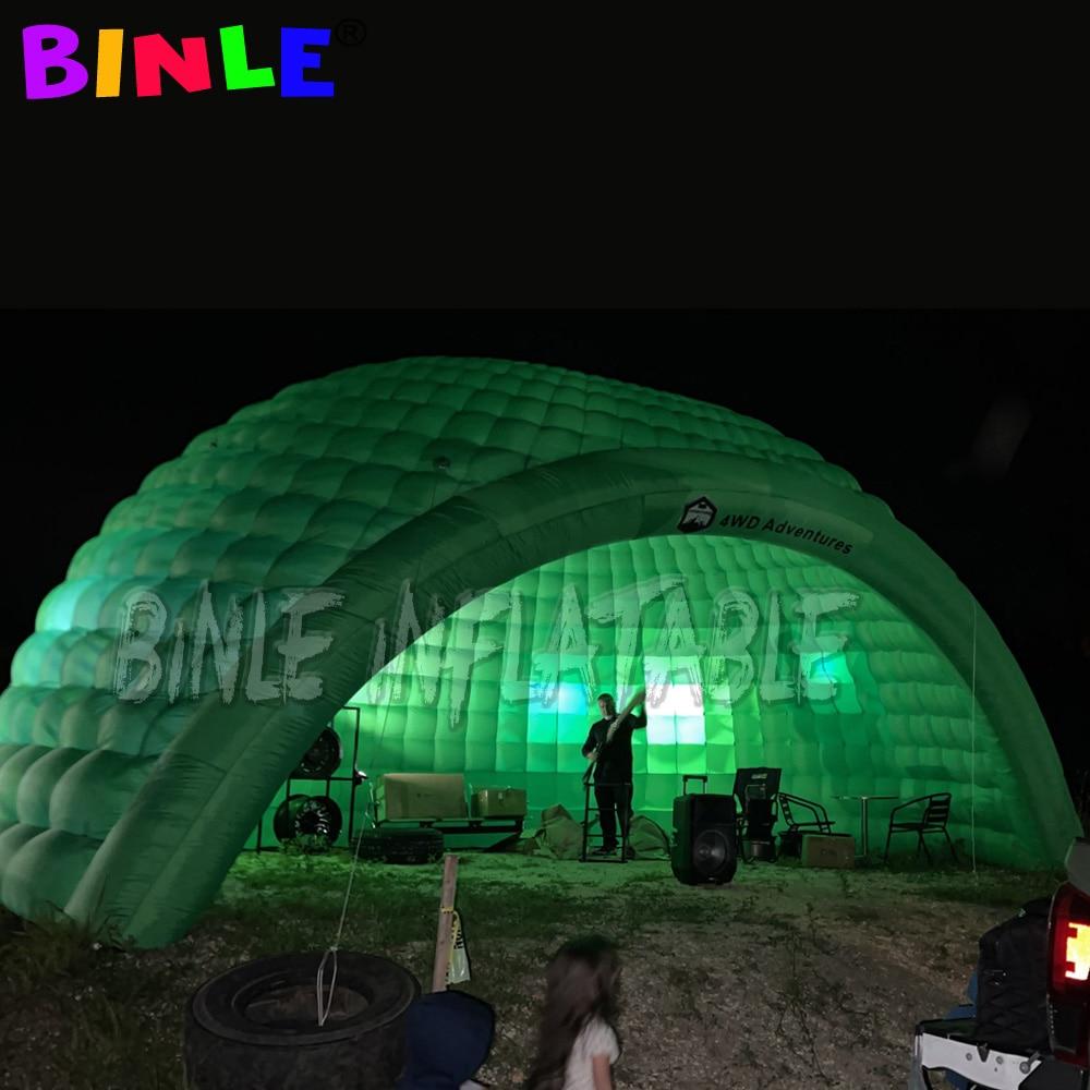 8x7x5m كبير الأخضر حفلة ديسكو خيمة تشبه بيت الإسكيمو نفخ نصف قبة خيمة مع أضواء led للدعاية سيارة ، المعرض التجاري ، الحدث