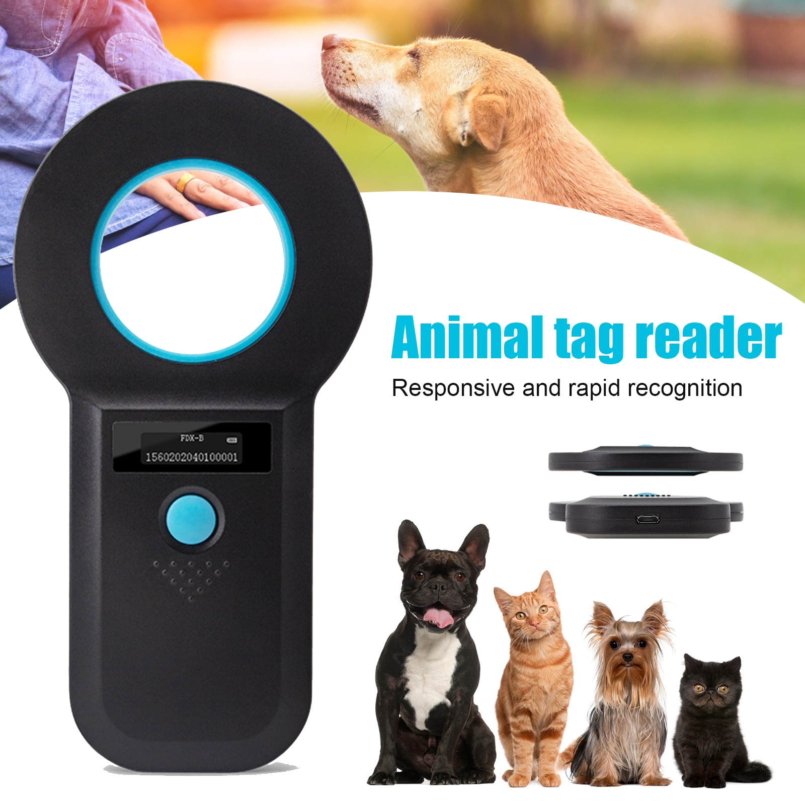 EMID ISO-قارئ علامة الحيوانات الأليفة ، الماسح الضوئي OLED للعلامة TN99 ، رقاقة محمولة للقطط والكلاب