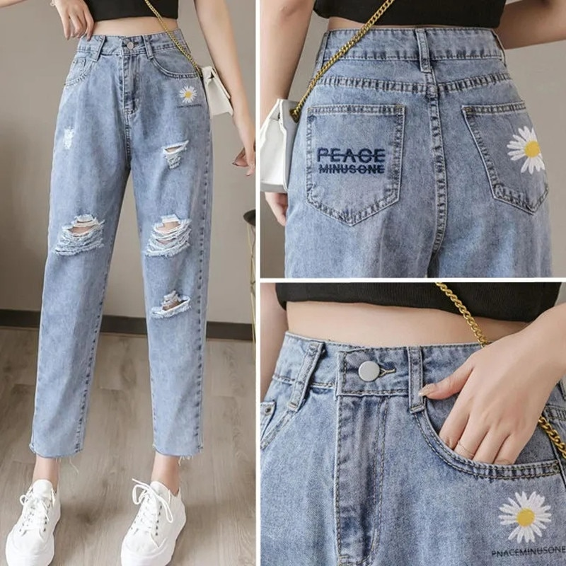 Embroidered daisy ripped jeans women loose cropped trousers 2021 summer thin high waist straight leg