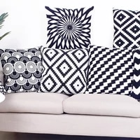 home decor embroidered cushion cover black white canvas canvas cotton pillow cover 45x45cm for sofa bed chair home decorative