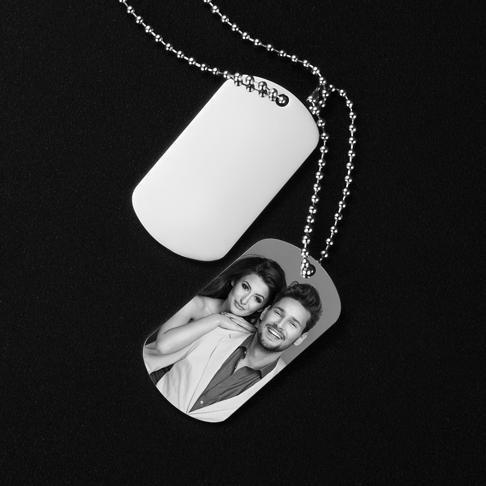 personalized id army tags necklace custom engraved stainless steel dog tag engraved customized dog tag name pendant men jewelry Personalized Customized Engraved Dog Tag Military Army Photo ID Name Men Linked Pendants Necklace Stainless Steel Male Gift