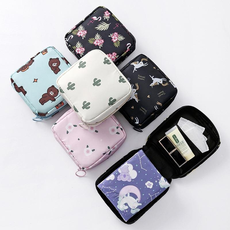Новые милые гигиенические салфетки, органайзер, Хлопковая Сумка, полосатые Мини косметички, дорожные гигиенические мешки для хранения