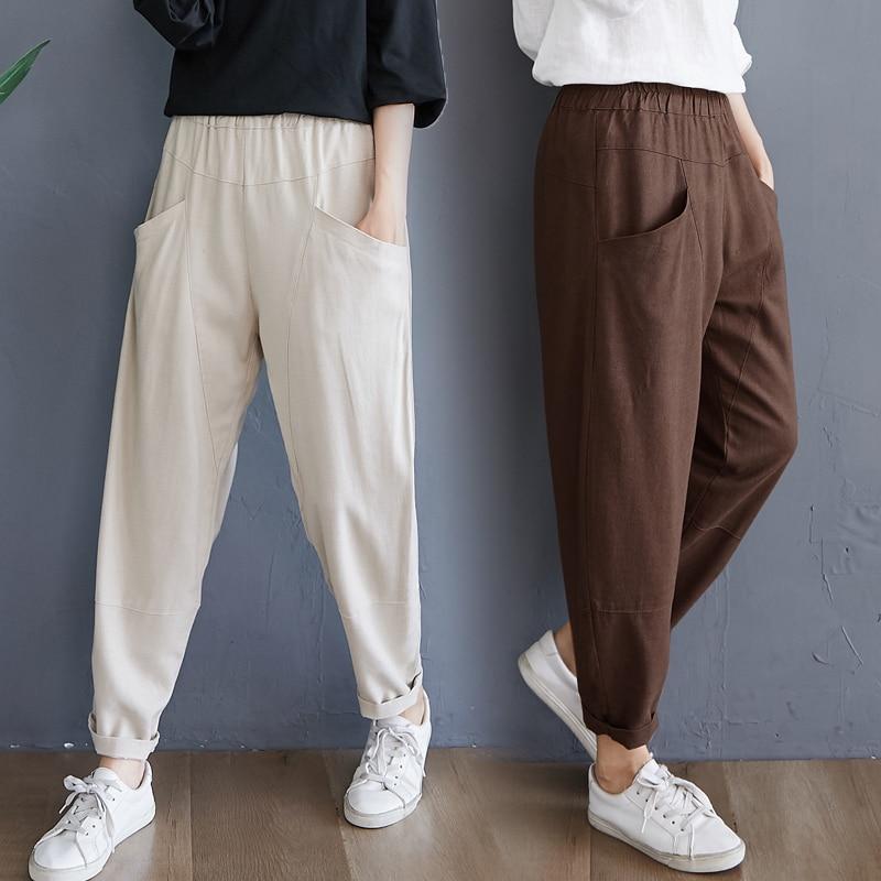 Cotton Linen Harem Pants Women's Spring and Autumn Fat mm Artistic Retro High Waist Slimming Casual