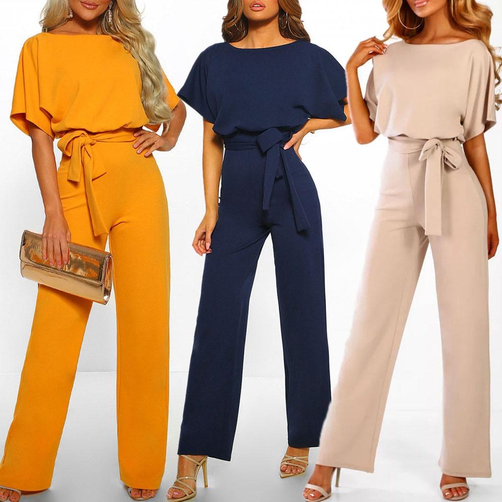 GOOHOJIO Rompers Women Jumpsuit Short Sleeve Playsuit Clubwear Straight Leg Jumpsuit Women's With Belt Bodysuit Rompers