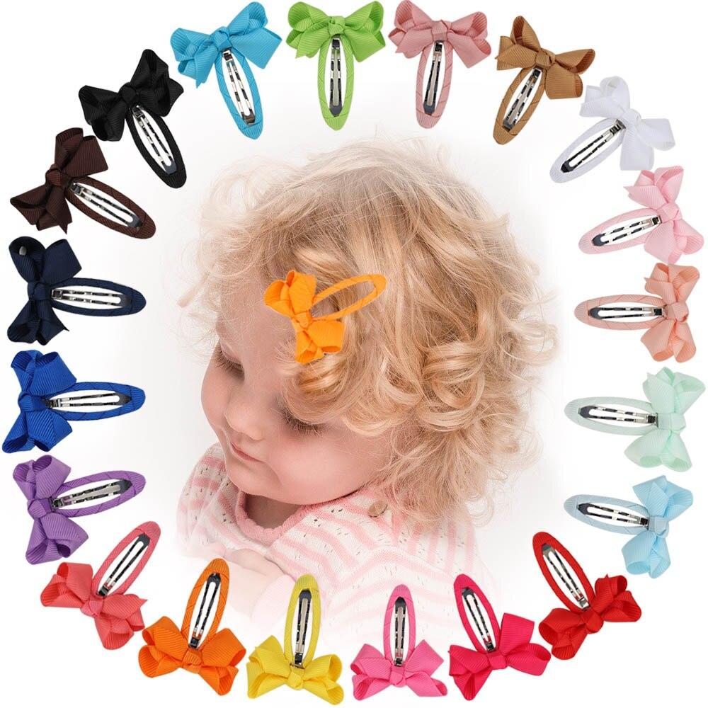 20 unids/set colorido bebé broches para el cabello con cinta de Color...