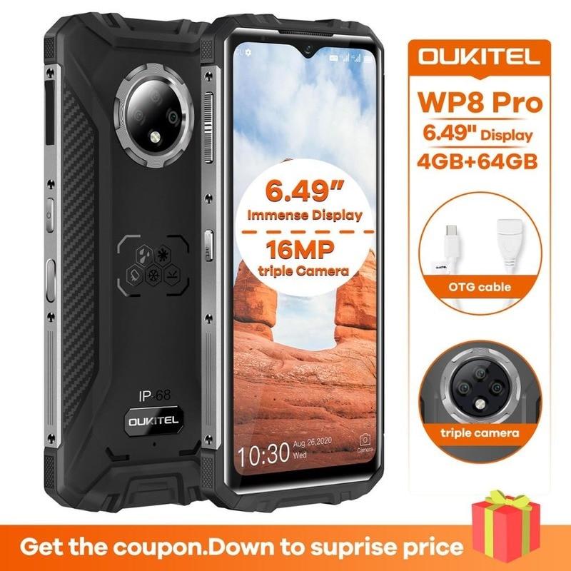 Перейти на Алиэкспресс и купить Оригинальный Новый OUKITEL WP8 Pro IP68 Водонепроницаемый мобильный телефон NFC 6,49 ''4 Гб 64 Гб MT6762D Octa Core Android 10 5000 мАч для смартфонов