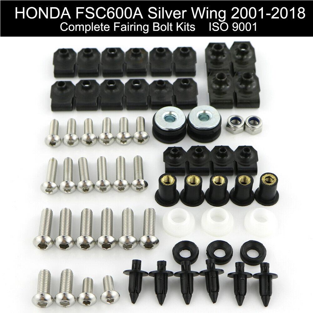 Para HONDA FSC600A ala plata 2001-2018 completa capó completo Kit de tornillos de carenado loco Clips de pernos de acero inoxidable