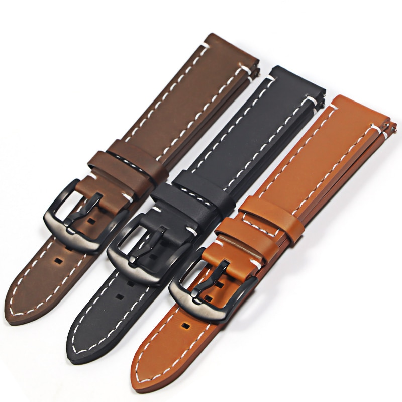 genuine leather 20mm watchbands for tissot prs516 series t91 men leather watch strap sport watch band male clock bracelet belt Genuine Leather Watchbands Bracelet Black  Brown Cowhide Watch Strap For Women Men  20mm 22mm  Wrist Band