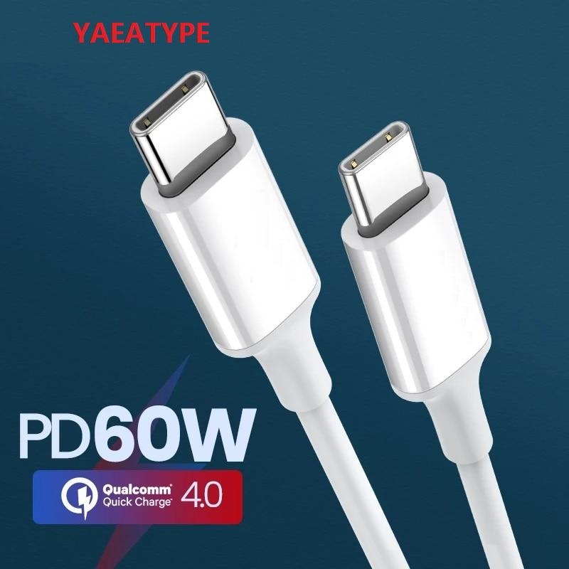 Cable USB tipo C PD 60W QC 3,0, Cable de datos de...