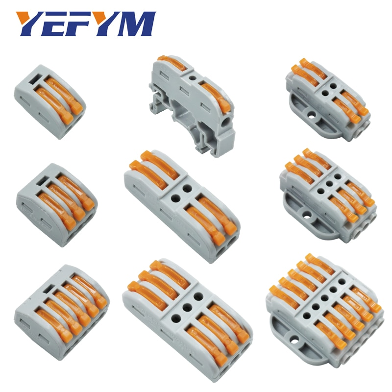 30pcs/lot fast wire connectors universal compact wiring electrical push-in Self-installing screw fixing hole terminals block