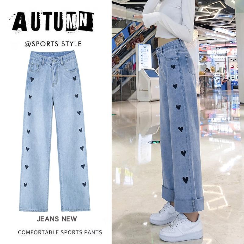 Новый продукт Акция синие джинсы в форме сердца широкие брюки летние женские джинсы Уличная мода широкие джинсы