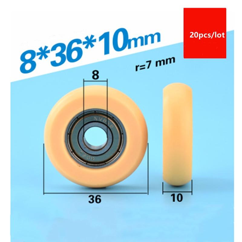20 قطعة قوس دائري البلاستيك المغلفة تحمل 608ZZ 608 8*36*10 مللي متر الأصفر الباب نافذة درج الأسطوانة بوم النايلون ملفوفة عجلة بكرة