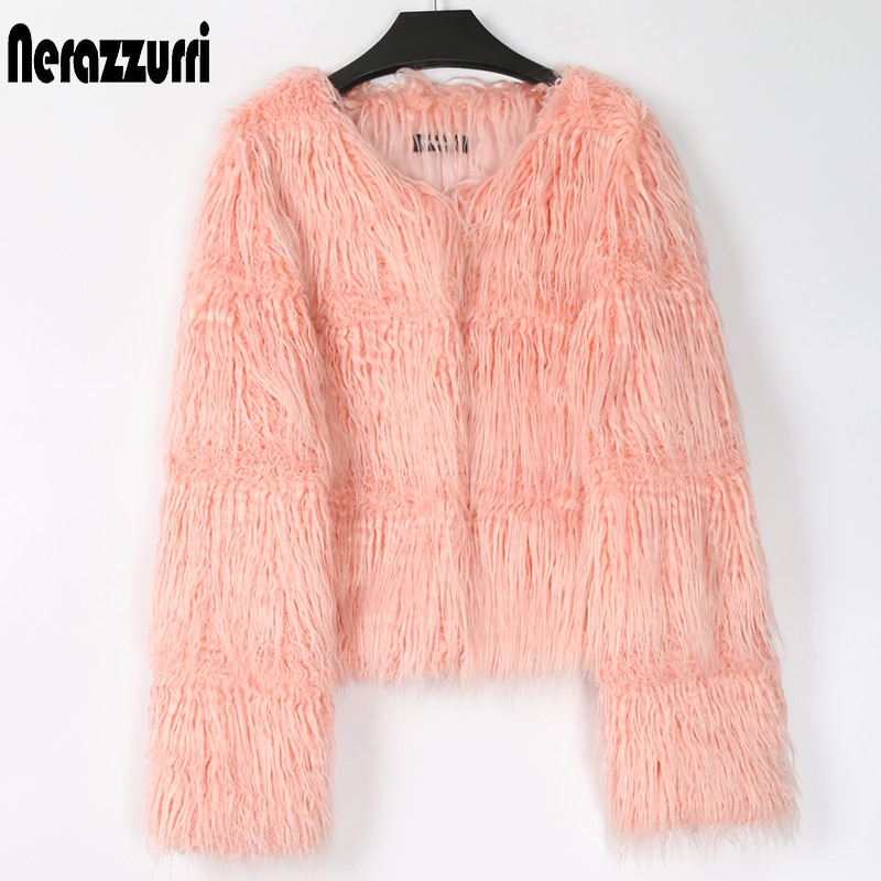 Chaqueta de piel sintética Nerazzurri corta rosa peluda y esponjosa para mujer, abrigo de piel de oveja de Mongolia falsa a rayas de manga larga de talla grande, moda 7xl