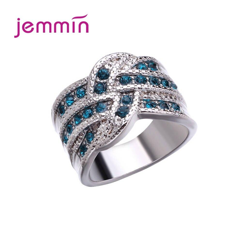 Anillo de dedo Plata de Ley 925 auténtica Estilo Vintage para mujer, cubierto con cristal azul regalo de aniversario, joyería de plata 925