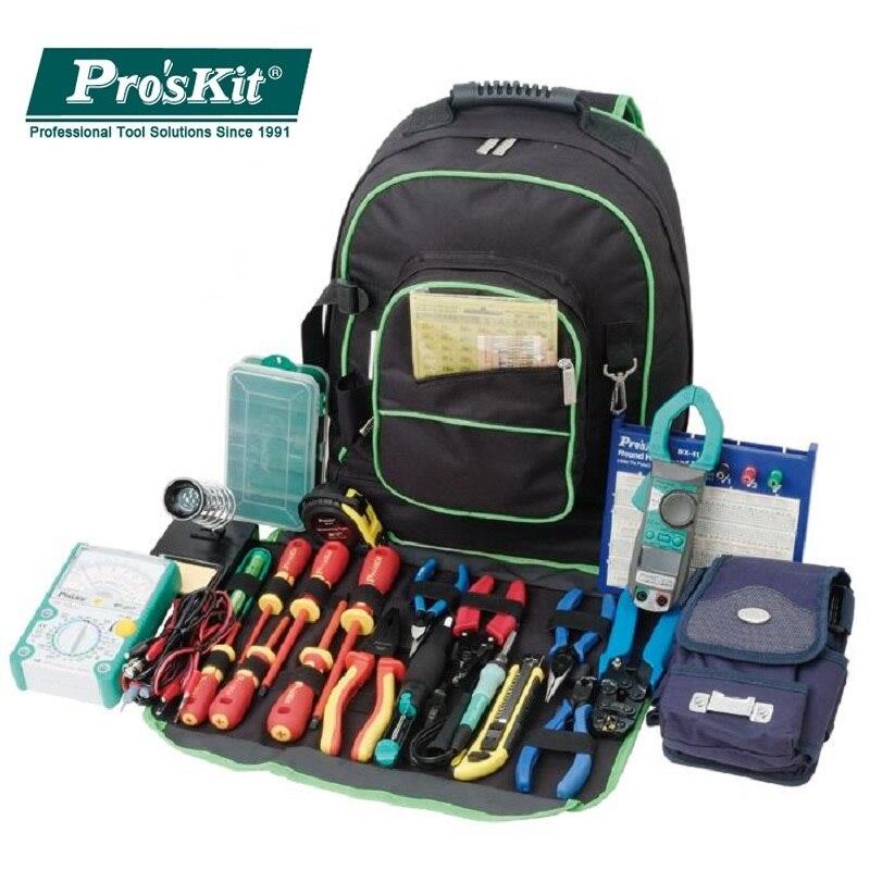 Mochila para herramientas de electricista ProsKit 9ST-307 multiusos, bolsa de viaje Universal, bolsa para herramientas con dos hombros, almacenamiento grande