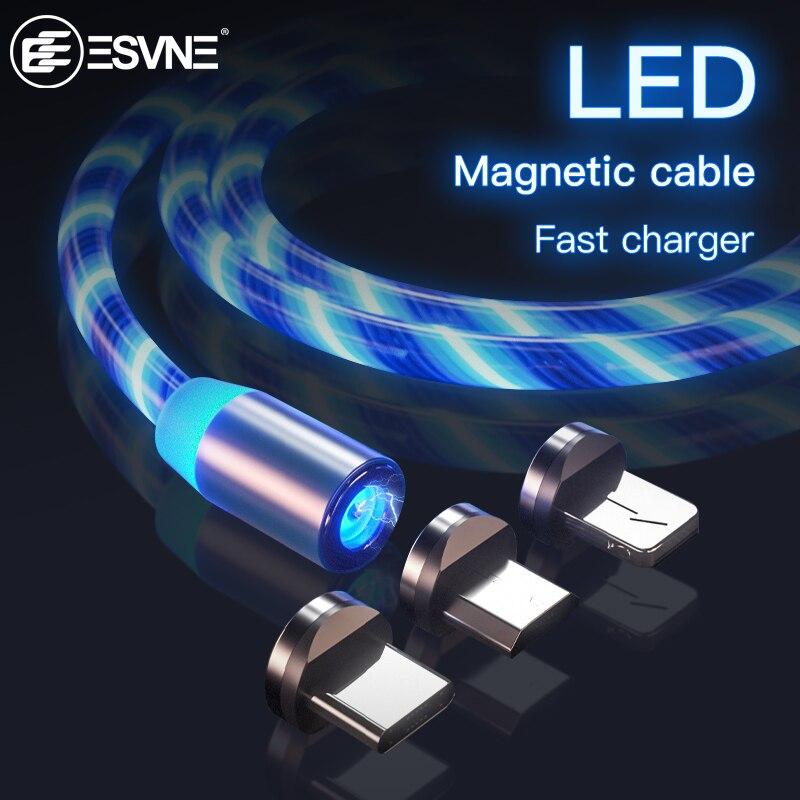 Cargador magnético de flujo de brillo LED cable usb tipo C Micro USB C 8 Pin de carga para iPhone android Cable magnético carga del cable de alambre
