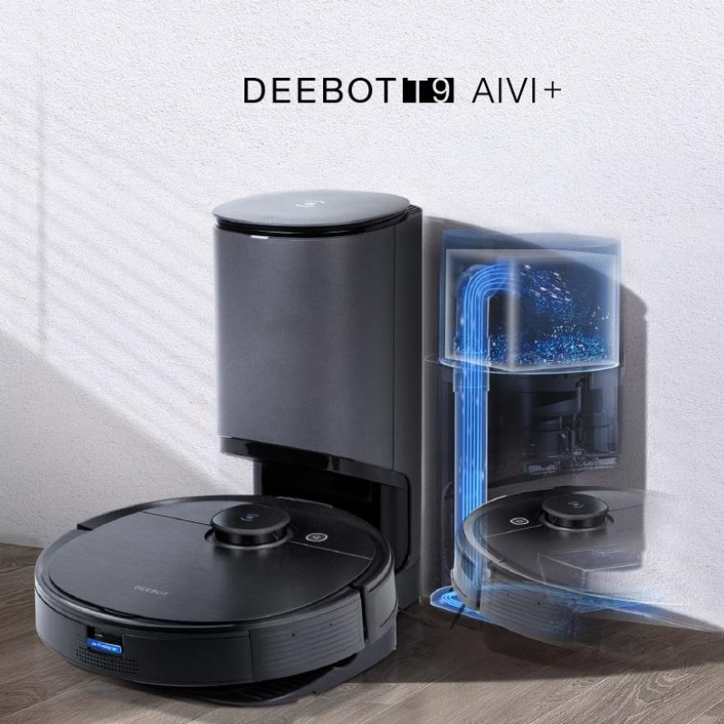 2021 New ECOVACS Deebot T9 AIVI With Auto-Empty Station Robot Vacuum Cleaner 3000Pa Suction Advanced TrueDetect 3D & TrueMapping