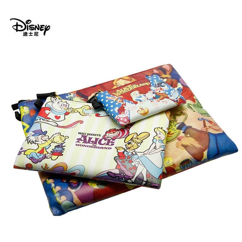 Disney Genuine Alice in Wonderland New Multifunctional Large Wallet Medium Hand Pouch Fashion Trend Small Girl Bag 3Pcs/Set