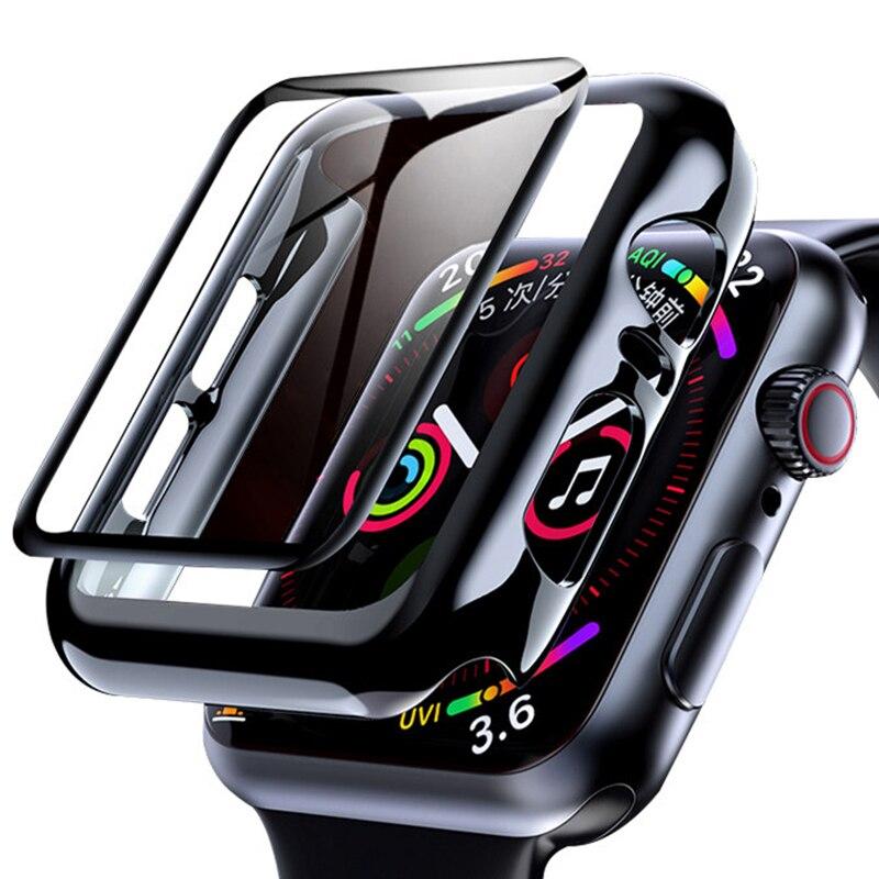 Стекло + чехол для Apple Watch Серия 6 5 4 3 SE 44 мм 40 мм, чехол для iWatch 42 мм 38 мм, защита экрана бампера + чехол для планшетов Apple watch