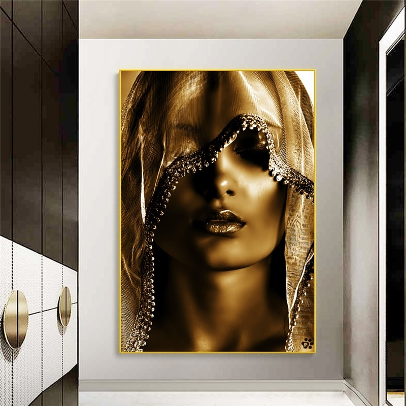 Nordic Style Golden Makeup Women Canvas Paintings Posters And Print Wall Art Pictures Modern Cuadros