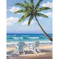 full squareround drill 5d diy diamond painting beach coconut trees 3d embroidery cross stitch 5d rhinestone decor gift