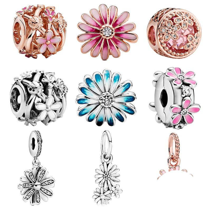 2020 new 925 Sterling Silver Sparkling Sparkling Daisy Flower Charm Bead Fit Original Pandora Bracel