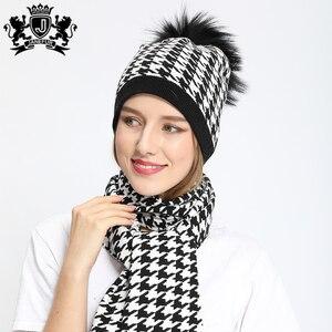 Зимний теплый белый и черный твидовый шарф Janefur из ангоры с меховым помпоном, новый дизайн