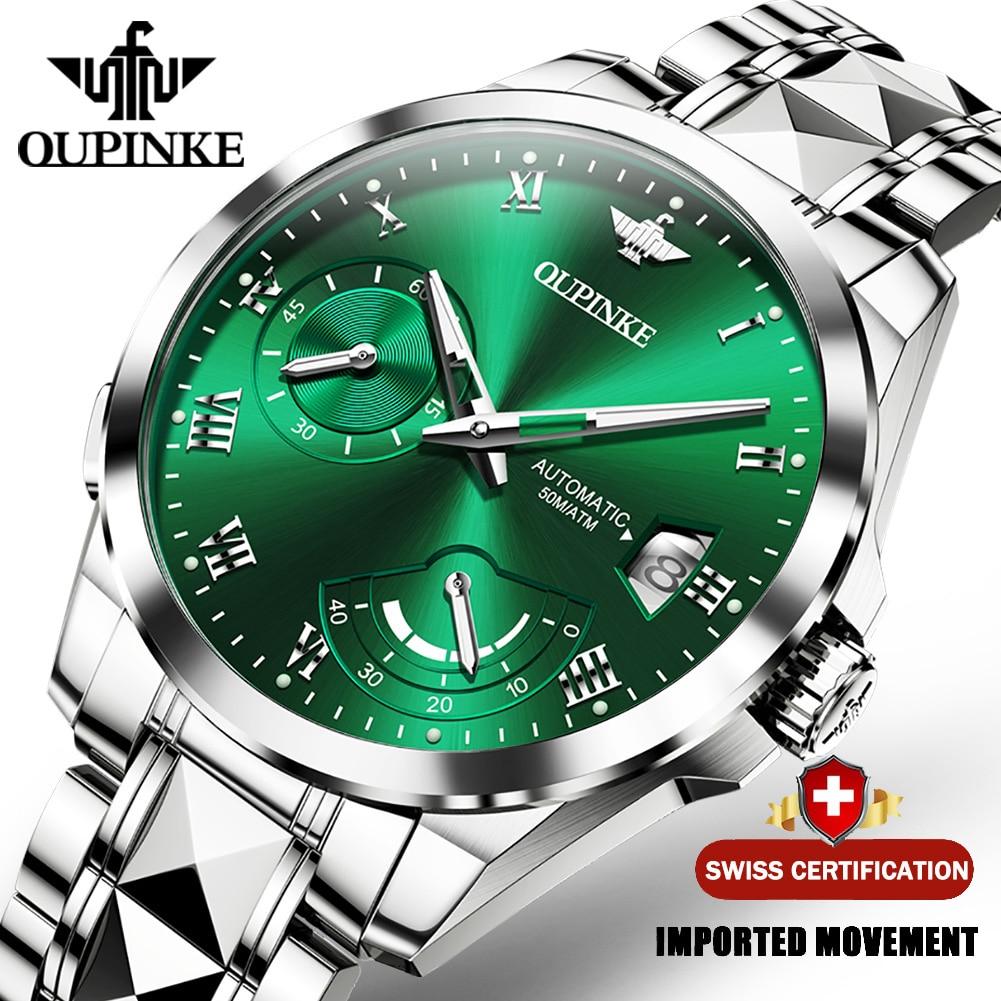 OUPINKE موضة الرجال مشاهدة العلامة التجارية العليا أوتوماتيكي متعدد الوظائف ساعة الرجال التقويم مقاوم للماء ساعات آلية مضيئة