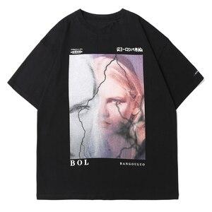 LACIBLE Hip Hop Streetwear T-Shirt Japanese Kanji Girl Print Tshirt Harajuku Cotton Loose Men 2021 Summer Short Sleeve Black