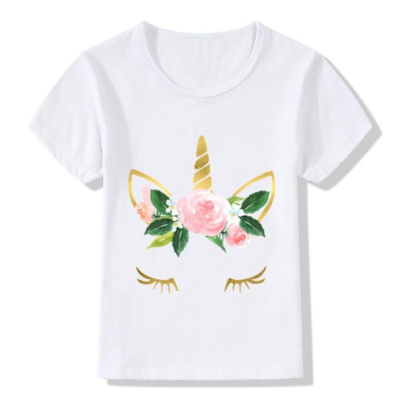 Cute Unicorn Children T Shirt Face Design Funny Baby Boys Girls Harajuku Summer White T-shirt Kids Cartoon Clothes new design fall winter thanksgiving kids outfit wholesale children baby girls cute cheap kid clothes