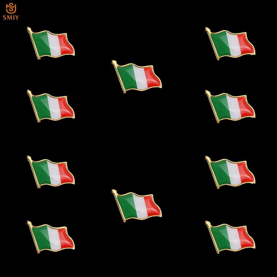 10 Uds Euro Italia nacional broche con forma de bandera Pin solapa mochila/insignia para corbata iconos Pin para regalo de decoración de Año Nuevo