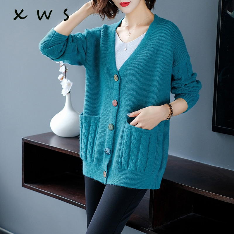 Autumn Winter Knit Sweater and Cardigans Women 2020 Open Stitch Loose Knit Cardigans red Jumpers Winter Sweater Coat Femme wave pattern open knit jumper
