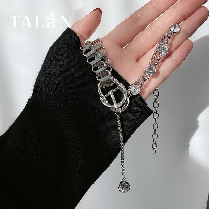 Trendy Thick Chain Zircon Necklace Light Luxury Minority Long Pendant Clavicle Chain Korean Temperam