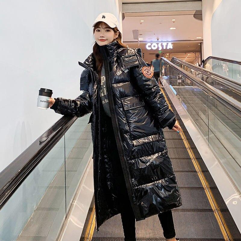 جاكيت منفوخ كبير الحجم للنساء ، سترة نسائية لامعة ، موضة كورية ، X ، طويل ، منفوخ ، سترة كبيرة الحجم ، معطف نسائي ، غطاء للثلج الأساسي ، أوكراني...