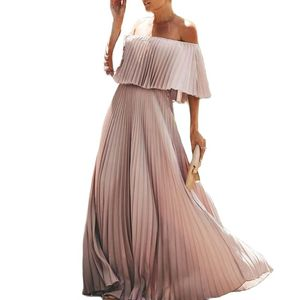 Off Shoulder Chiffon Dress Women Summer Dress Ruffle Pleated Long Dress Casual Solid Elegant Holiday Loose Beach Dress