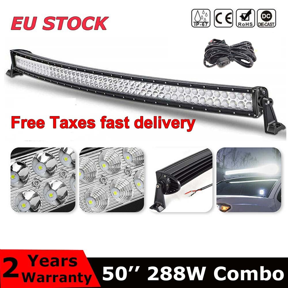 Dual Reihe 50 inch gebogene led light bar 288W combo strahl Für Offroad Traktor Lkw 4x4 4WD SUV ATV Fahrzeug Fahren Lampe 12V 24V