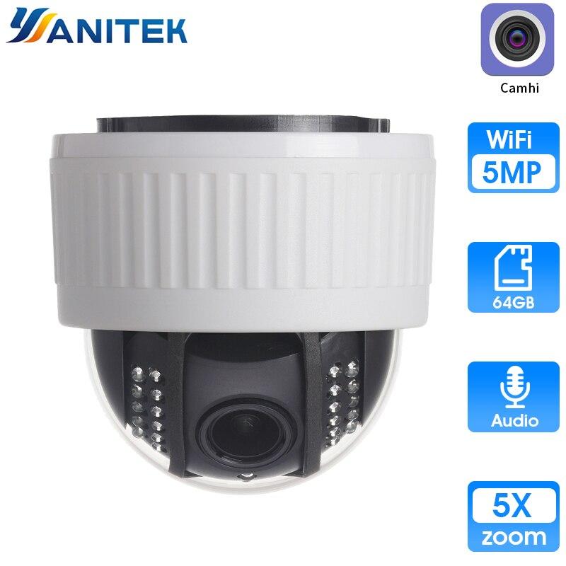 5X Zoom 2,7-13,5mm interior inalámbrico girar domo PTZ WiFi IP Cámara 5MP HD 2MP Audio micrófono tarjeta SD IR noche Onvif P2P