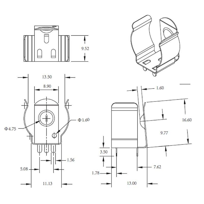 10 Uds 18650 Clips de batería Abrazadera para 18650 CR123A batería resorte acero TBH-18650-CLIP01 Accesorios