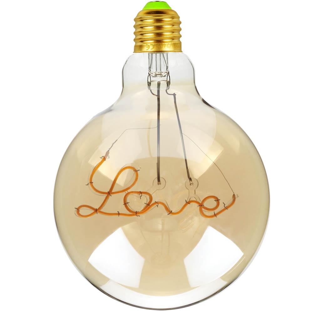 TIANFAN Led Bulb Vintage Light Bulb G125 Big Globe Alphabet Love Led 4W Non Dimmable Pendant Hanging Decorative Bulb 110V 220V