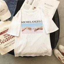 Michelangelo Cappella Sistina Harajuku Ulzzang Tumblr Women T-shirt New Summer Letter print Femme Casual Aesthetic art Tops Tee