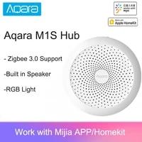 Aqara     Hub passerelle M1S avec veilleuse Led RGB  Zigbee 2021  Siri  commande vocale a distance  pour le travail a domicile intelligent  application Mijia HomeKit  3 0