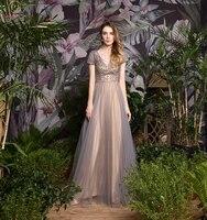 gray champagne deep tassel v neck elegant a line evening dresses short sleeve formal party long prom gowns robe de soiree 2019