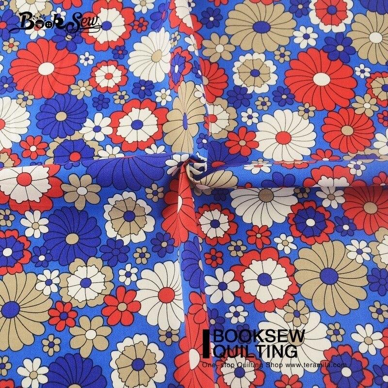 Booksew-tela azul suave con flores de tela Popelina, tela para costura DIY,...