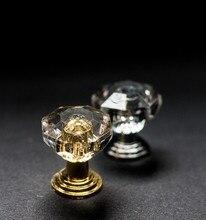 10 pièces/ensemble tiroir meubles bouton tirer poignée utilisation pour bouton armoire armoire tiroir raccords or diamant cristal forme acrylique