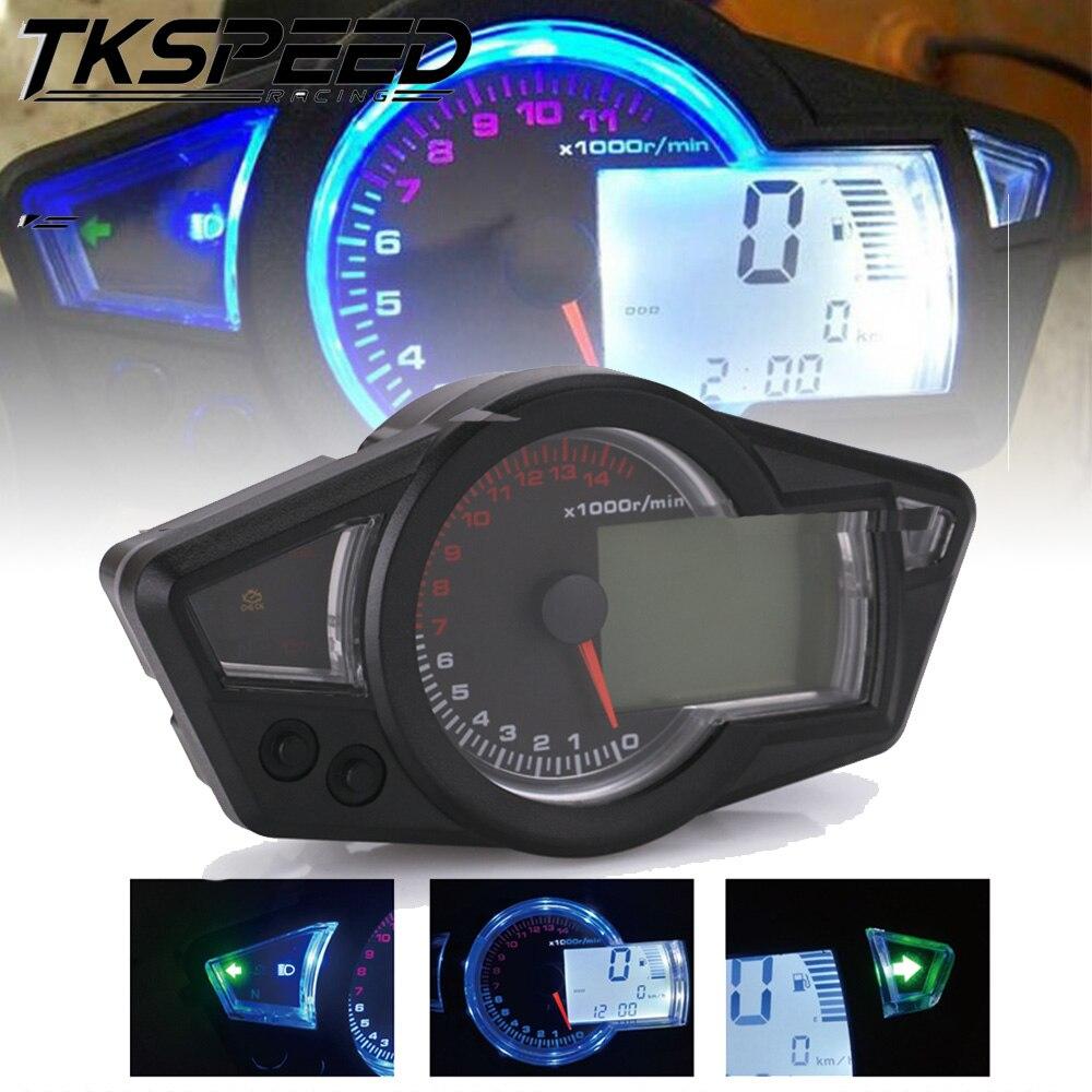 Бесплатная доставка мотоцикла ЖК спидометр мотоцикла цифровой одометр спидометр тахометр подходит для 2 и 4 цилиндров