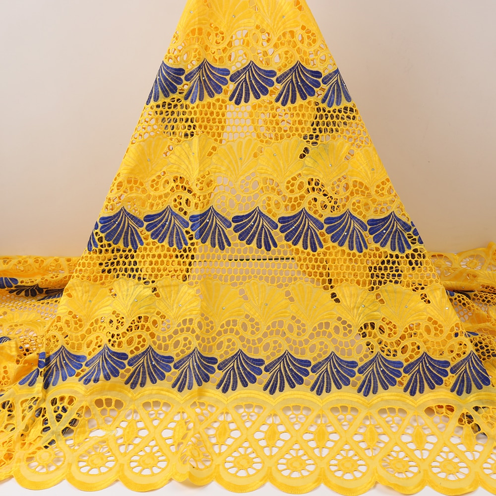 PGC African Dry Cotton Lace Fabric 5Yards Nigerian Lace Fabrics For Dress High Quality Swiss Voile Lace In Switzerland YA3931B-1