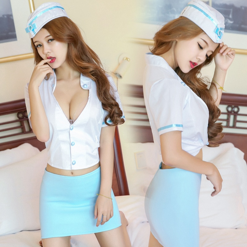 Sexy lingerie stewardess policewoman uniform extreme temptation suit Navy nightclub role play police lingerie  ligerie sexy