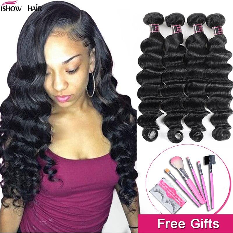 Tissage en lot brésilien Non Remy 100% naturel-Ishow Hair   Loose Deep Wave, extension de cheveux, lots de 1/3/4